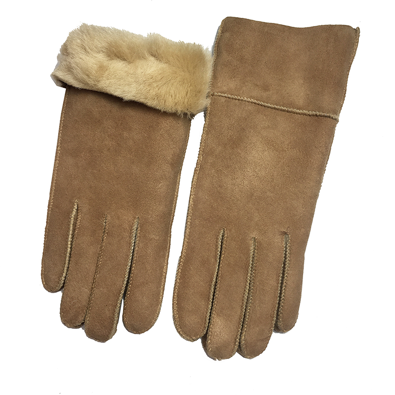 Winter Women Gloves Sheepskin Warm Gloves 100% Real Sheepskin Cashmere Fur Warm Gloves Ladies Full Finger Genuine Leather G39