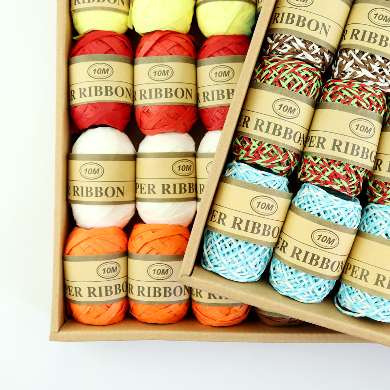 Bocheng DIY Wrapping Twine Rope Twisted Paper Braided Rope 8 Colors 10M Raffia Craft Thread Scrapbooks Invitation Flower Decor