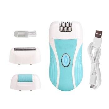 Depiladora de mujer recargable 3 en 1, Afeitadora eléctrica para mujer, depilación, afeitadora, afeitadora, piel muerta con callosidades, removedor de cuidado de los pies