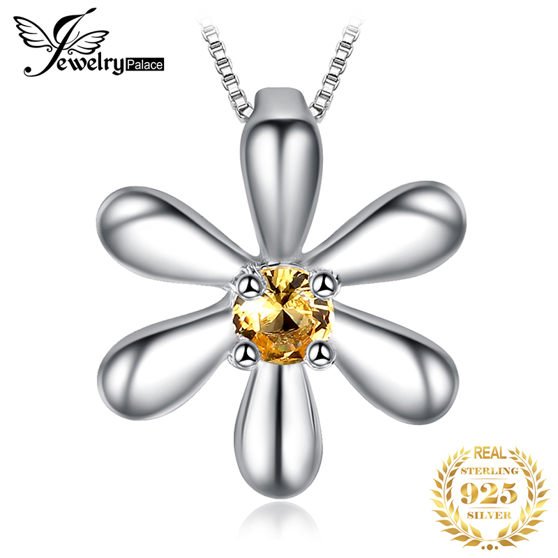 JPalace Flower Created Orange Sapphire Pendant Necklace 925 Sterling Silver Gemstones Choker Statement Necklace Women Without Ch