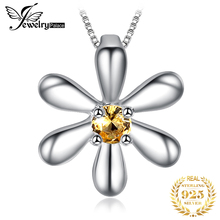 JPalace Flower Created Orange Sapphire Pendant Necklace 925 Sterling Silver Gemstones Choker Statement Women Without Ch