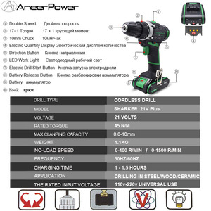 Image 3 - 21V 핸드 전기 드릴 2 속도 전동 공구 무선 드릴 리튬 이온 배터리 드릴 전기 스크루 드라이버 미니 드릴링 스크루 드라이버