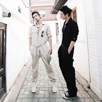 Trendy Romper Overalls Jumpsuit Men Casual Khaki Black Spring Autumn Fall Mens Fashion One Piece Clothes Pants Suits