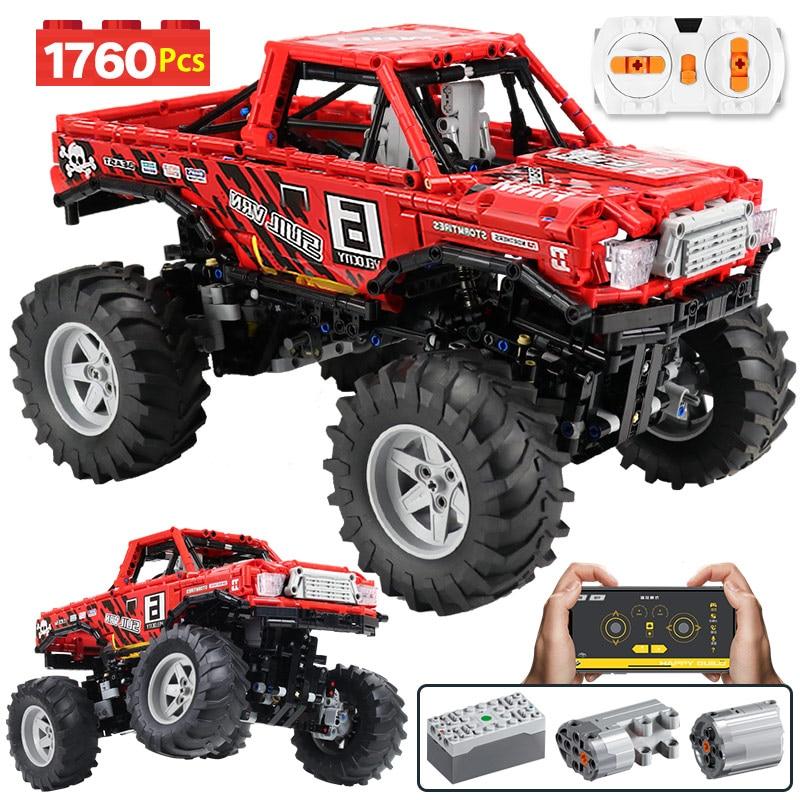 1760Pcs City 4WD Off Road Vehicle Model RC/non-RC Building Block Technic  SUV Racing Car Truck Bricks Toys For Boys