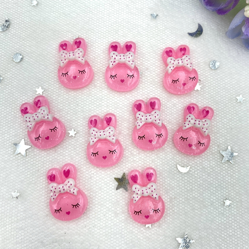 20Pcs Lovely rabbit Resin Decoration Crafts Flatback Cabochon Scrapbook Kawaii DIY Embellishments Accessories B83