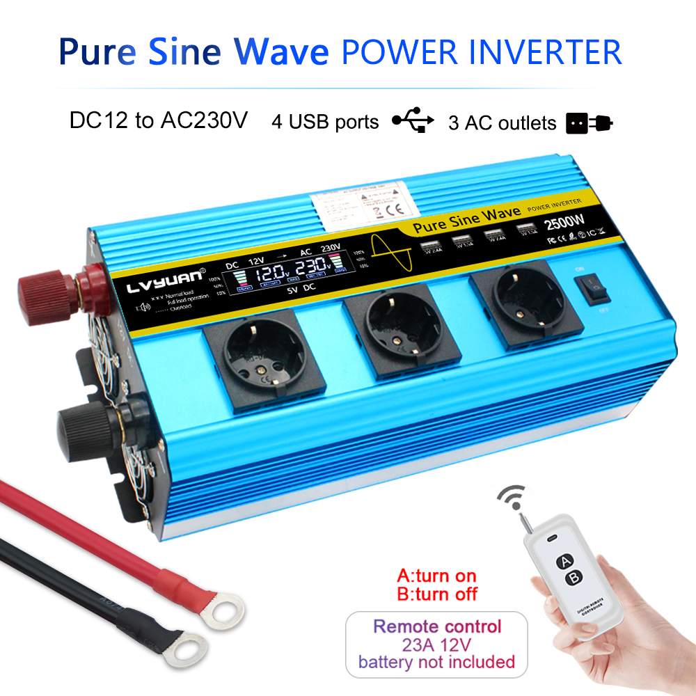 LCD 12000W Power Inverter DC12V To AC220V Pure Sine Wave Converter Supply Solar Power 4USB  With 3 EU AC Wireless Remote Control