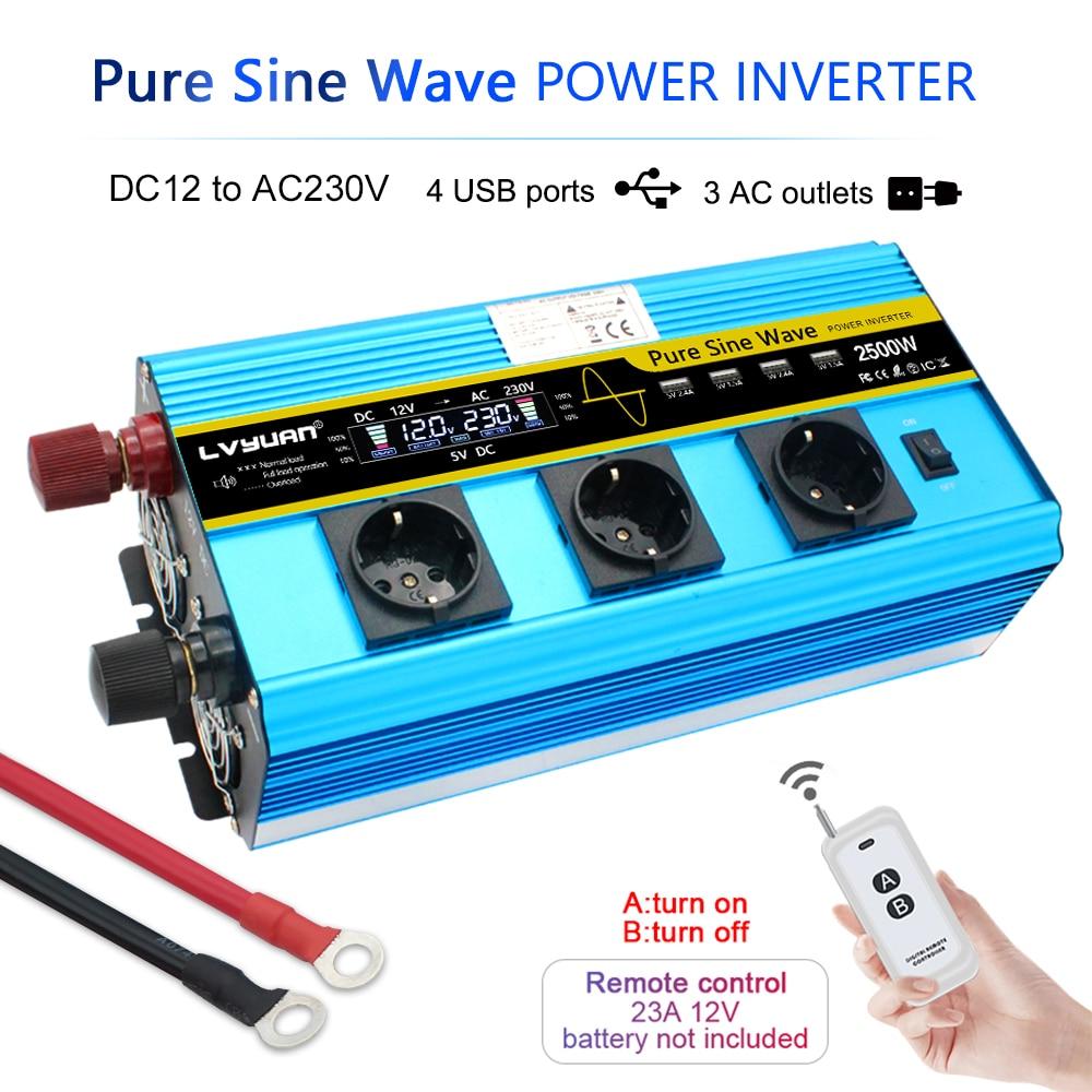 Инвертор мощности с ЖК-дисплеем, 12000 Вт, 12 В постоянного тока в В переменного тока, преобразователь немодулированного синусоидального сигна...
