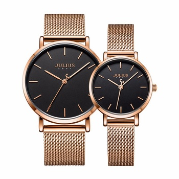 Classic Design Lovers' Stainless Steel Milanese Mesh Band Japan Quartz Watches Waterproof Men Women Couple Fashion Trendy Clocks