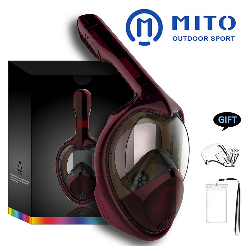 2019New Anti Fog Diving Mask Snorkel Swimming Training Scuba Mergulho 2 In 1 Full Face Snorkeling Mask Gopro Camera Dropshipping