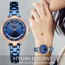 Zegarki damskie CURREN luksusowa metalowa bransoletka zegarek damski klasyczny zegarek kwarcowy niebieski zegarek damski ze stali nierdzewnej tanie tanio QUARTZ 3Bar Zapięcie bransolety Moda casual STOP Odporna na wstrząsy Odporne na wodę STAINLESS STEEL 30mm CUR9054-RGBE