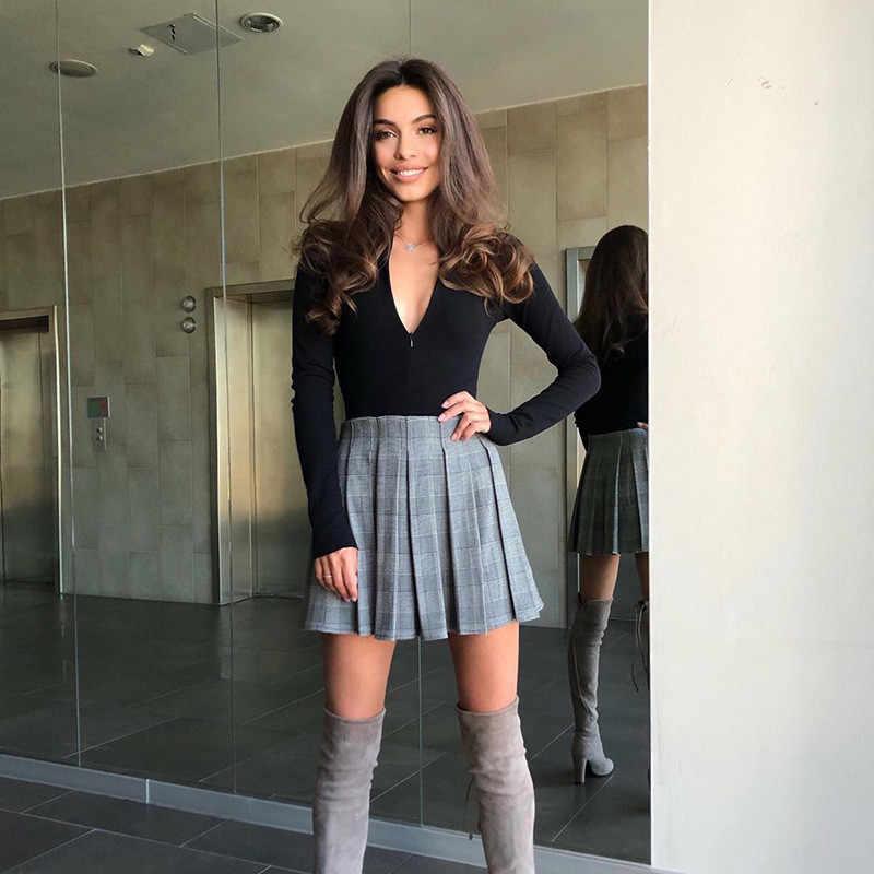 CNYISHE 2020 rahat spor tulum kadın Bodysuit uzun kollu düzenli fermuar tulum kadınlar moda Streetwear kıyafetler tulum