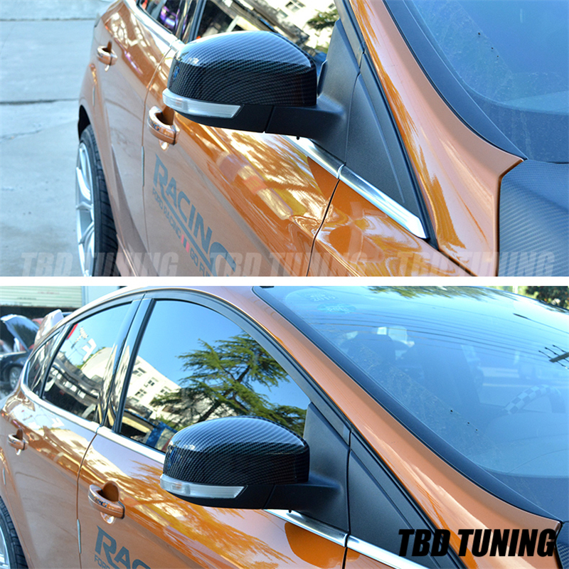 Carbon Look Mirror Cover For <font><b>Ford</b></font> <font><b>Focus</b></font> 2 <font><b>MK2</b></font> 3 MK3 RS ST 2004 <font><b>2005</b></font> -2008 2009 2010 <font><b>2011</b></font> 2012 2013 2014 - 2018 accessories <font><b>focus</b></font> image