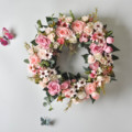 Cilected Künstliche Rose Blume Kranz 16 Zoll Fenster Tür Hängen Girlande Weihnachten Wand Ornament Hochzeit Braut Kranz Decor