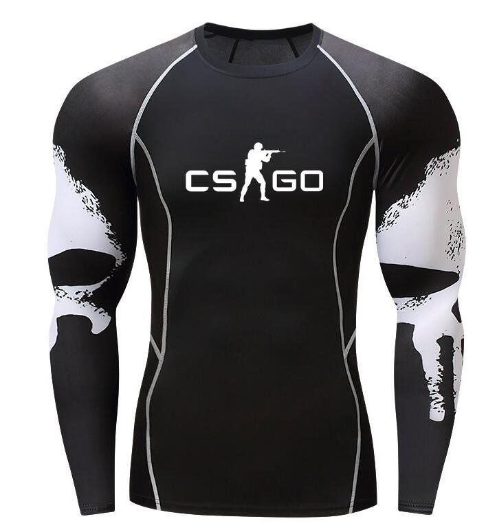 CS GO hombres Camiseta cuello redondo manga larga caliente de alta calidad CSGO hombre culturismo Camisetas homme estampadas camisetas de talla grande