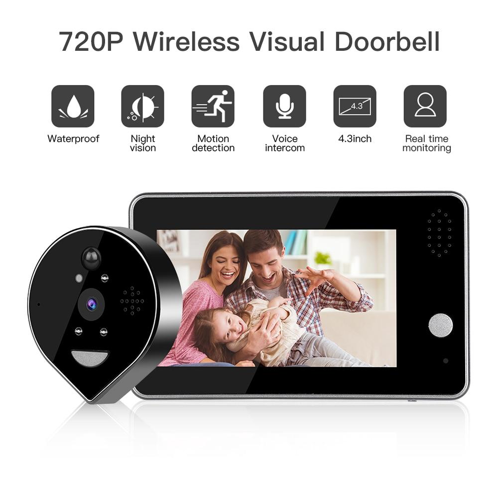 Wifi Doorbell Camera Video Peephole Door Intercoms 4.3 Inch Motion Detection Wireless Door Viewer Video-eye Smart Door Bell Ring