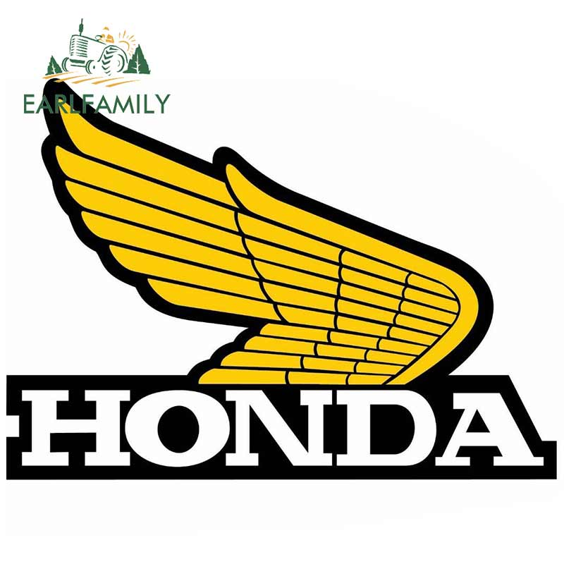 EARLFAMILY 13cm X 9.5cm Funny Auto Car Stickers And Decals Waterproof Bumper JDM Car Wrap Laptop For Honda Wings Yellow Retro