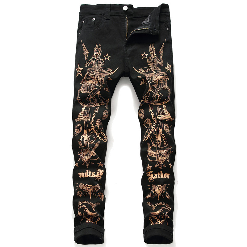 ABOORUN Printed Mens   Jeans   Black Casual Pencil Denim Pants Hip Hop Streetwear   Jeans   for Male R2385