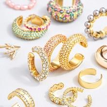 2020 neue Ankunft Multicolor CZ Kristall Ohr Manschette Stapelbar C Förmigen Ohr Clips Keine Durchbohrten Knorpel Ohrring für Frauen Earcuffs