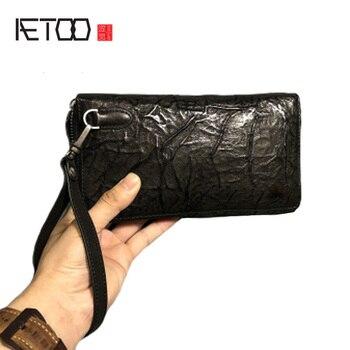 AETOO Hand-caught folds handmade men's purse, head-layer edrified leather retro do old doka bit hand bag