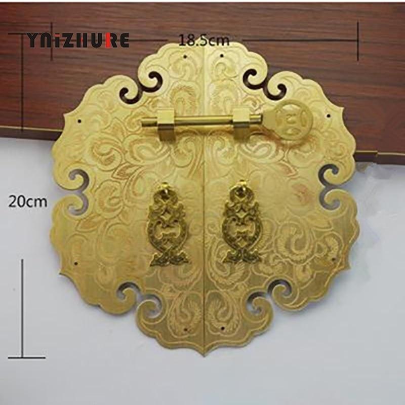 200mm pur cuivre Antique chinois meubles poignée armoire porte tirer armoire bibliothèque Double ouvrir la poignée de tiroir de porte