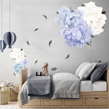 Peony Wall Stickers for Living room Bedroom TV Sofa Background Wall Eco-friendly Flowers Wall Decals Vinyl Wall Murals Poster blue peony wall stickers bedroom living room tv background diy vinyl plants wall decals eco friendly removable diy wall murals