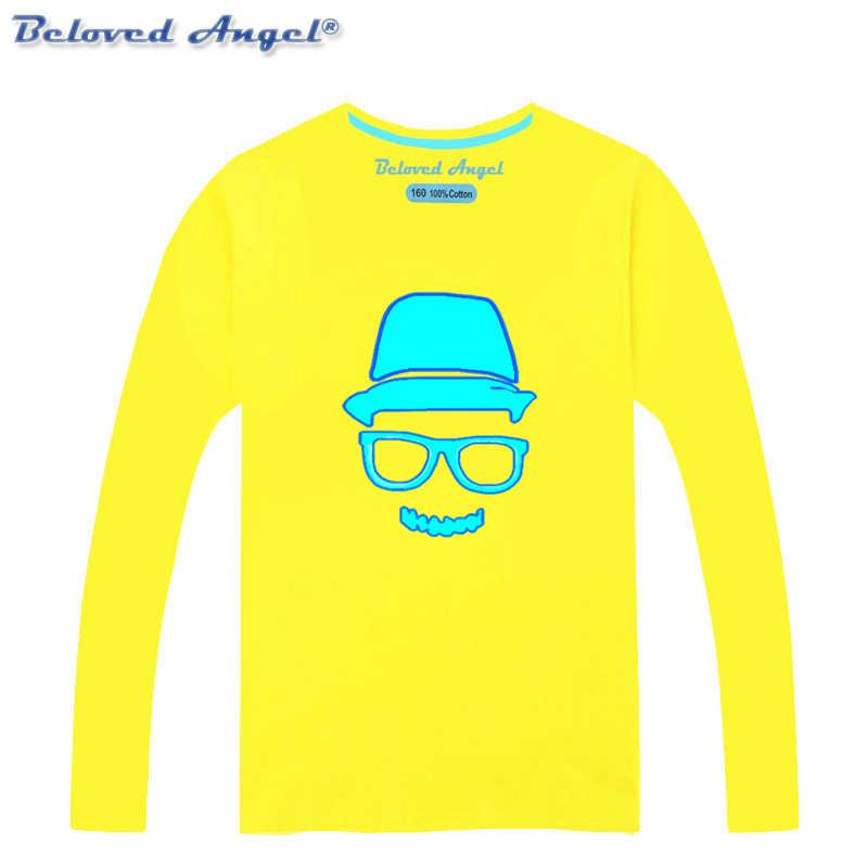 אביב סתיו ספיידרמן ארוך שרוול חולצות בני בנות חולצות ילדים זוהר Tshirts חג המולד נערה T חולצה זוהר בחושך