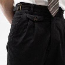 21 Summer Gurkha Casual pants black fishbone pure cotton Capris slim tapered pants size customization