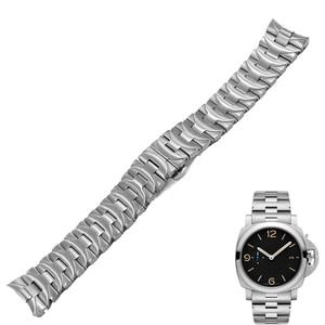 Ремешок для часов Carlywet из нержавеющей стали 316L, 24 мм, серебристый, с двойной застежкой, для Panerai Luminor, мужской стиль