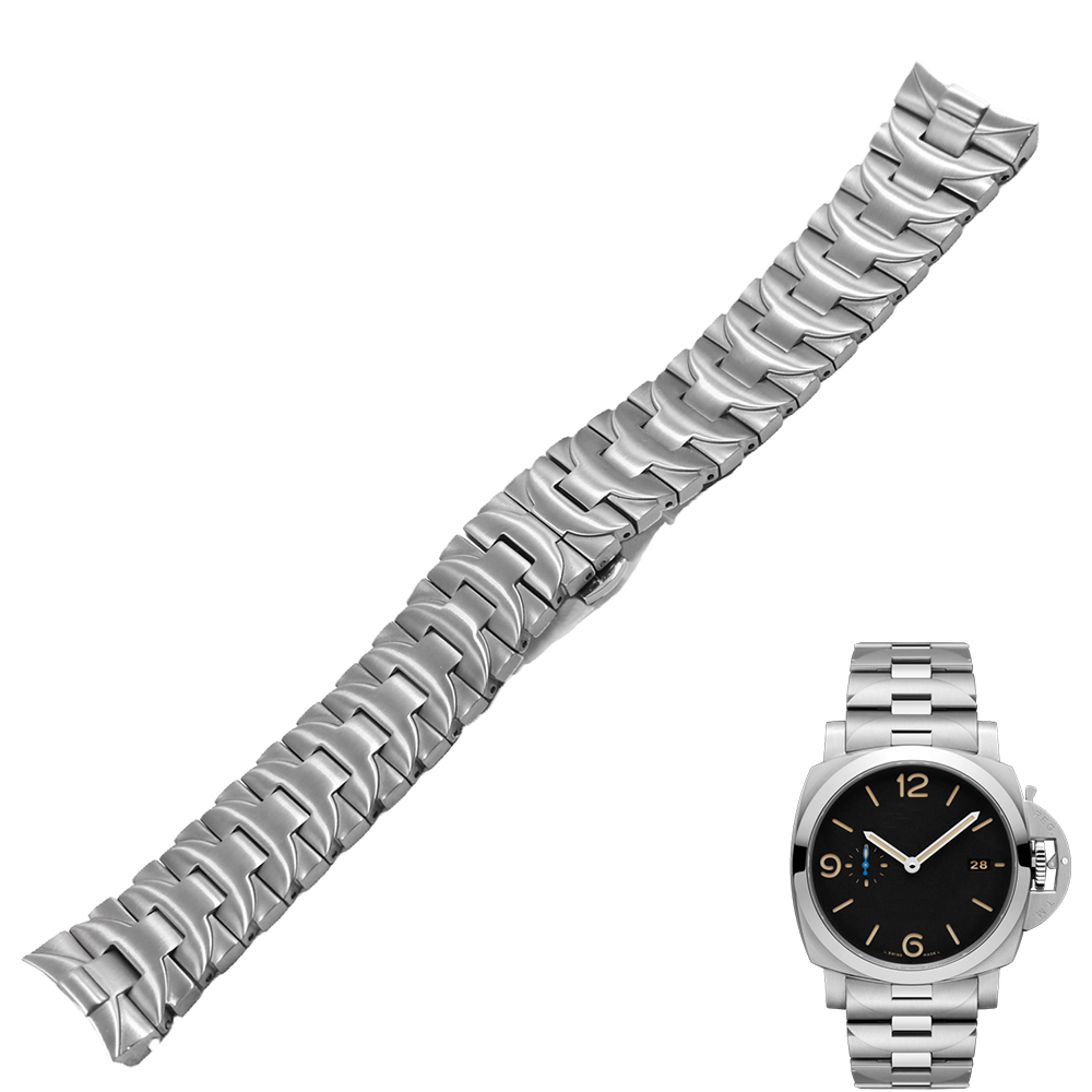 Carlywet 24mm 316L Stainless Steel Watch Band Silver Double Push Clasp For Panerai Luminor Man Style