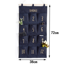 Denim wall hanging storage bag door mobile phone finishing multi-layer pocket 12