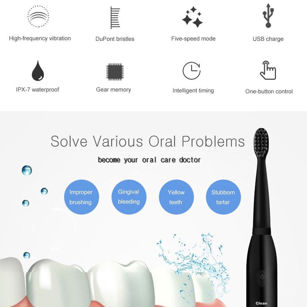 Powerful Electric Toothbrush Rechargeable Ultrasonic Washable Electronic Whitening Waterproof Teeth Brush