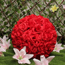 "Hot sale 8""(20cm) Red Silk Rose Flowers Ball Wedding Kissing Balls Pomanders Red Artificial Flower Ball Centerpieces Decoration(China)"