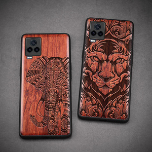 Image 2 - Carveit Wooden Cases For VIVO iQOO 7 Real Wood Covers TPU Silicone Shell 3D Carved Thin Accessories Protective Luxury Phone Hull
