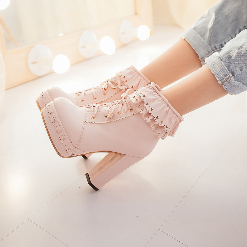Lolita Lace Boots Women Elegant Japanese Style Sweetness Temperament Party Perform Cosplay Pure Color Frenulum High-heeled Shoes
