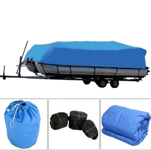 17-20ft 600D Oxford Fabric Boat Cover with Storage Bag Blue Waterproof High Quality image