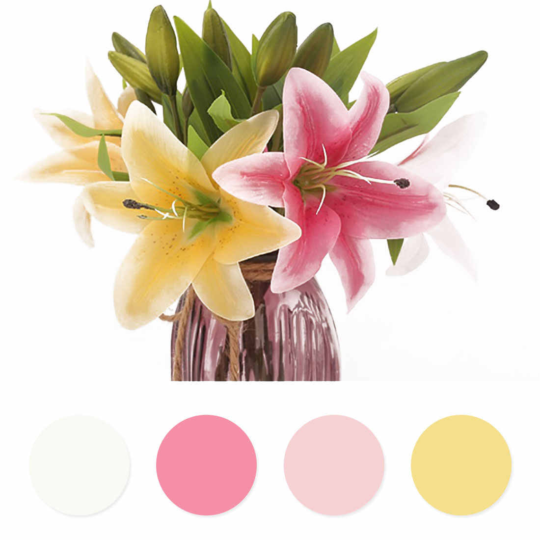 1 Pcs Bunga Palsu Buatan Lily Flores Sentuhan Nyata Buket Pengantin Pernikahan Tanaman Putih Lily Rumah Pesta Dekorasi untuk Layar