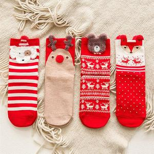 2 Pairs Winter Christmas Socks Women Socks Casual Deer Cotton Cartoon Keep Warm Cute Lady Girls Sock Christmas Gift 2020