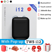 True Wireless Bluetooth5.0 Earphones i12 TWS In Bluetooth Accessories Cases Sport Earbuds For i7s i10 i30 i200 i9s