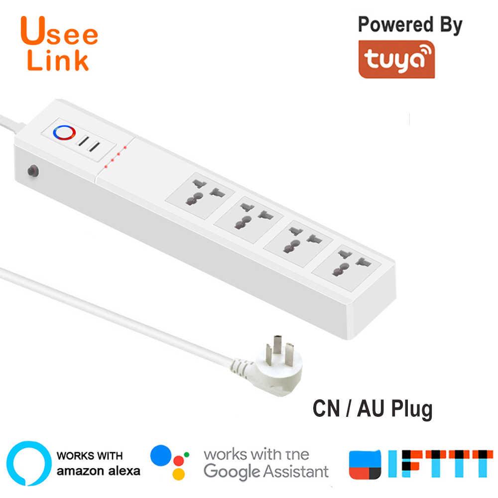 UseeLink WiFi Smart Power Strip uniwersalne gniazda z wtyczką USB gniazda zdalnego sterowania głosem niezależnie przez Tuya