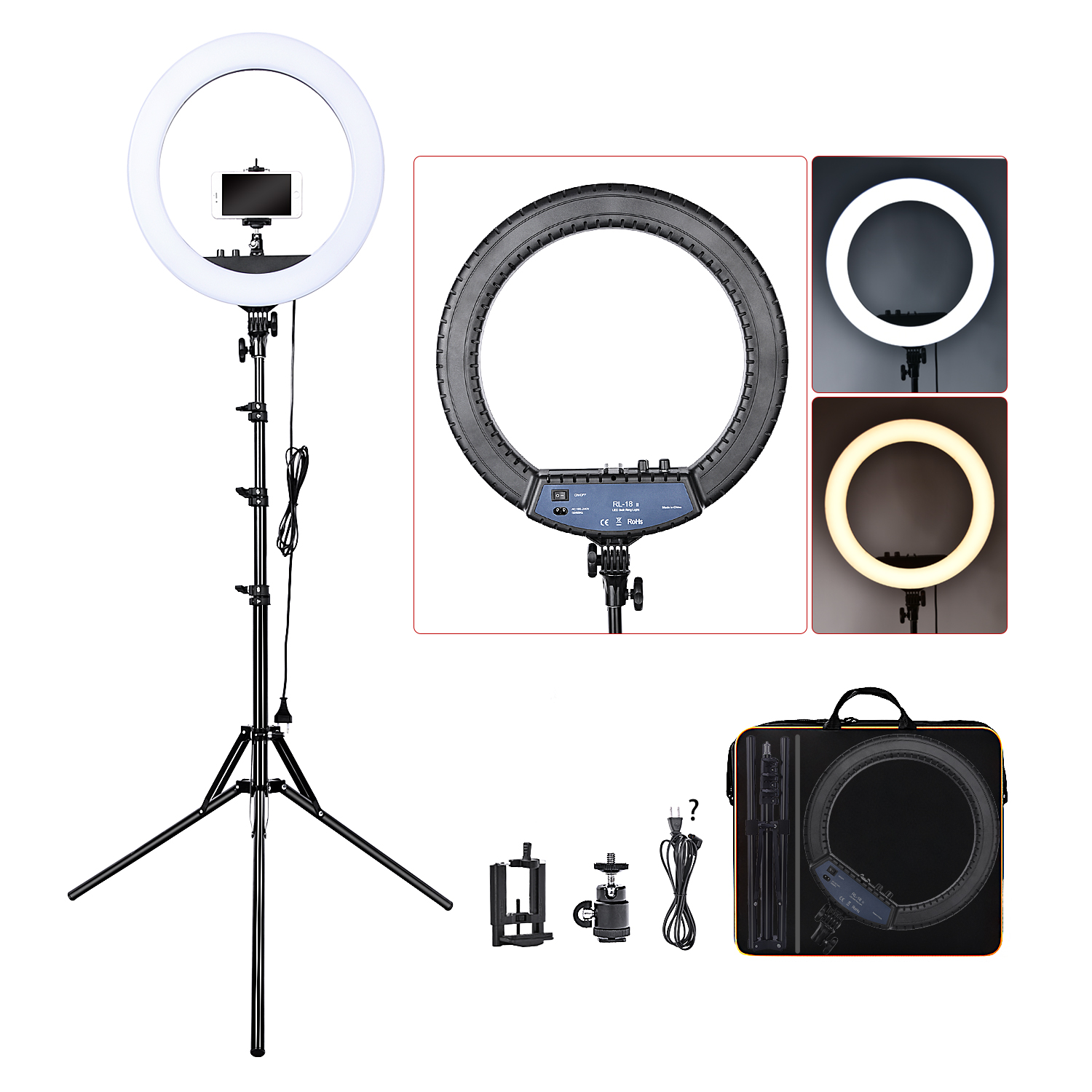 H24d1488df46647aea56c013302d7d92er FOSOTO RL-18II Led Ring Light 18 Inch Ring Lamp 55W Ringlight Photography Lamp With Tripod Stand For Phone Makeup Youtube Tiktok