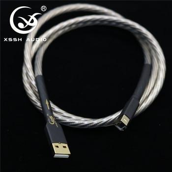 цена на HiFI Hi-end A-B type USB cables XSSH Audio DIY Copper Silver OFC pure copper conductor USB A to USB B Audio cable Cord Wire