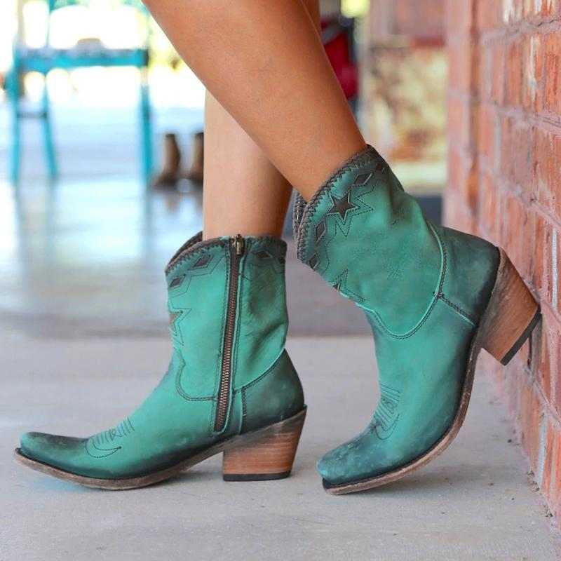 LOOZYKIT ผู้หญิงข้อเท้ารองเท้า Western Retro หนังรองเท้าส้นสูงนิ้วเท้ารูปแบบเย็บ Botas Mujer หญิงด้านข้าง Zipper