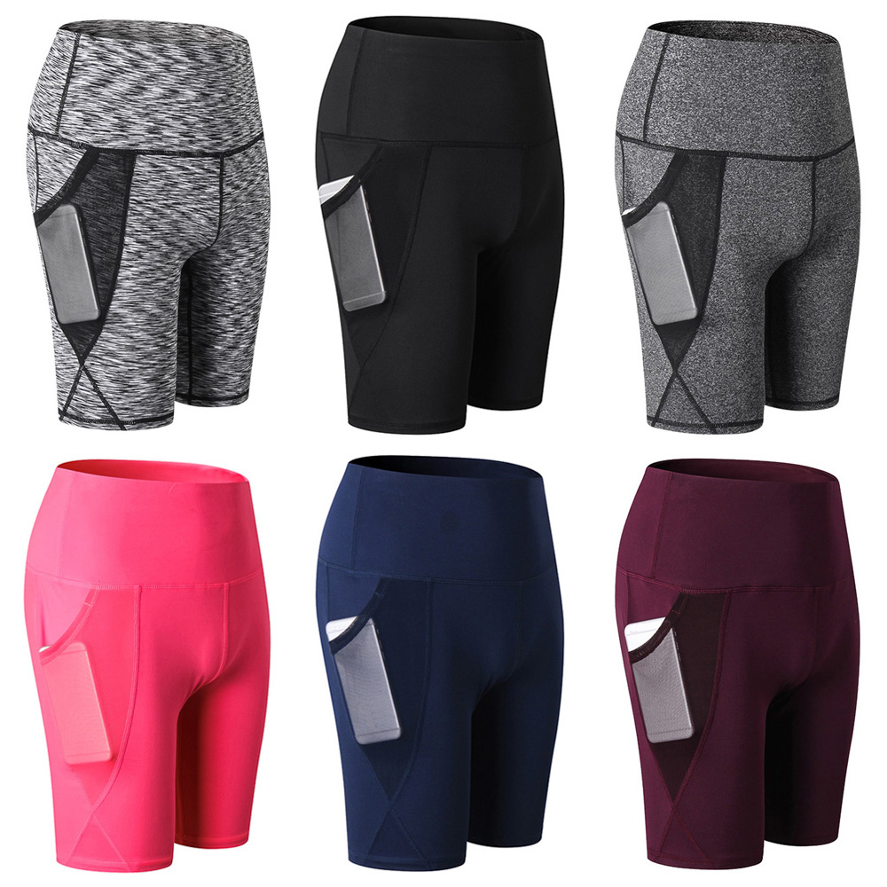 Womens High Elastic Yoga Shorts Training Fitness Running Quick Dry Tight Shorts
