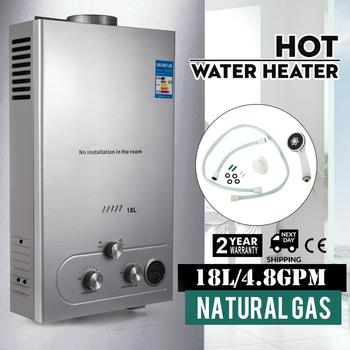VEVOR 18L 4.8GPM 36KW Tankless Instant Boiler Natural Gas Water Heater with Shower Head Kit Wall-Mounted Water Heater ship from germany 6l portable outdoor shower lpg propane gas tankless instant hot water heater boiler shower head