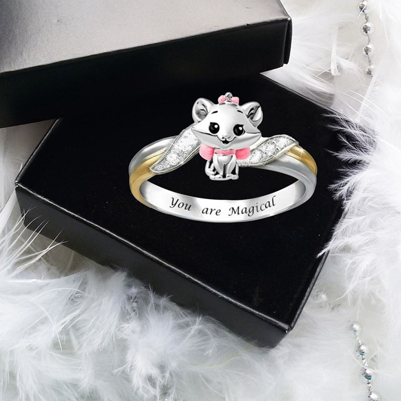 You Are Mag-ical Lo-vely Animal Ring Crystal Squrrel Children Rings Cute Cartoon Finger Ring Beautiful Jewelry for Girls Kids(China)