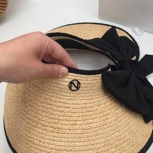 Image 5 - ラフィット草トップ帽子夏の韓国語バージョンのフォールディングサンシェードわら帽子リボン弓日焼け帽子太陽帽子