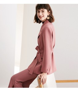 Image 3 - חליפה קטנה חליפת סט, סתיו ורוד חליפת מעיל + ישר מכנסיים חליפת שני חלקים, רזה גוף ומותנים, מראה מקצועי ol סגנון