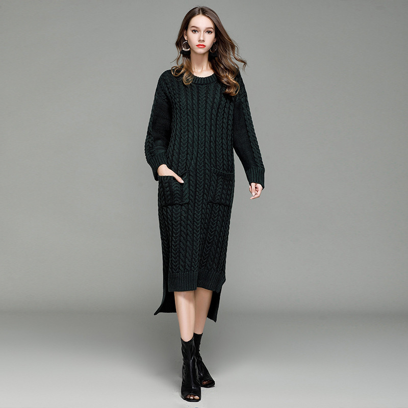 Womens Autumn Winter Super Long Sweater Pockets Casual Lady Pullover Korean Slim Fit O Neck Knitted Tops Female Sweater Dress