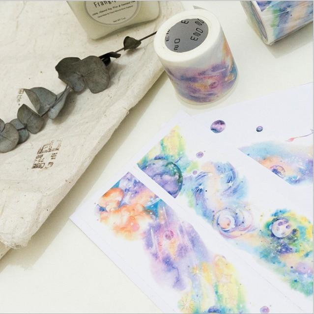 1 pièces Washi rubans bricolage papier japonais dessin animé elfes paysage ruban de masquage rubans adhésifs décoratifs Scrapbooking autocollants