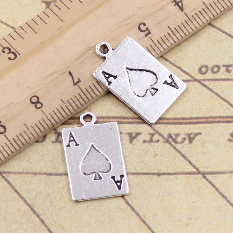 15pcs Charms Ace Of Spades Playing Card Poker 20x12mm Tibetan Bronze Silver Color Pendants Crafts Making Finding Antique Jewelry